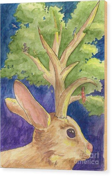 Jackalope Wood Print