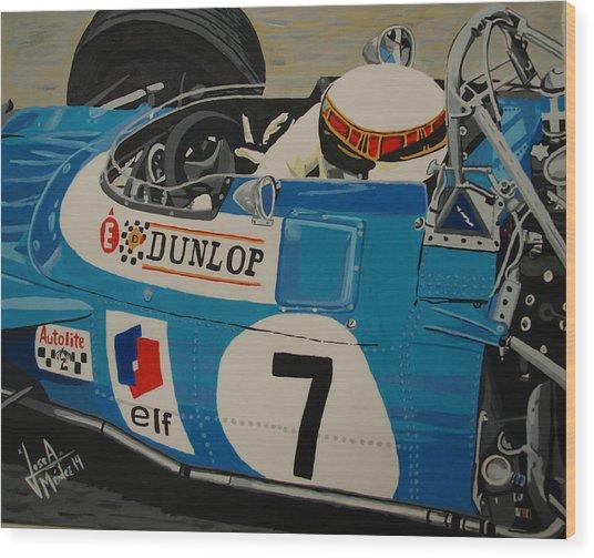 Jackie Stewart Wood Print by Jose Mendez