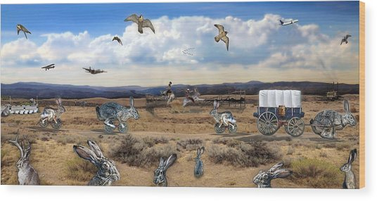 Jackrabbit Juxtaposition  At Owyhee View Wood Print