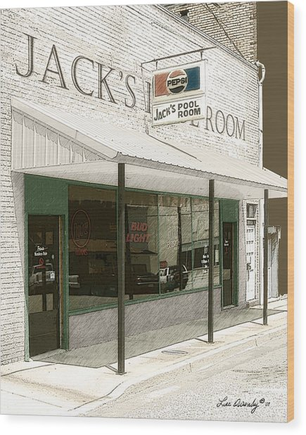 Jack's Pool Room Wood Print