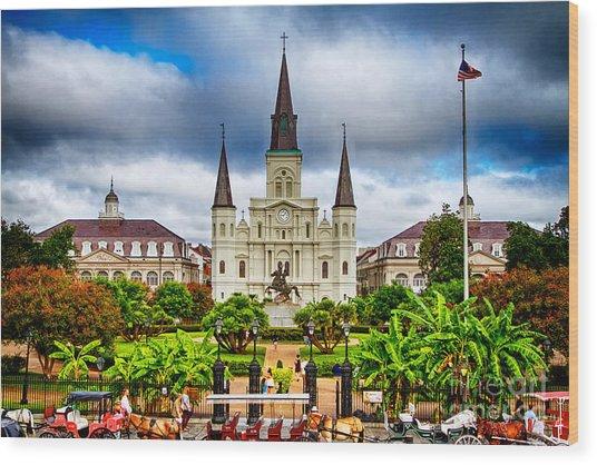 Jackson Square New Orleans Wood Print