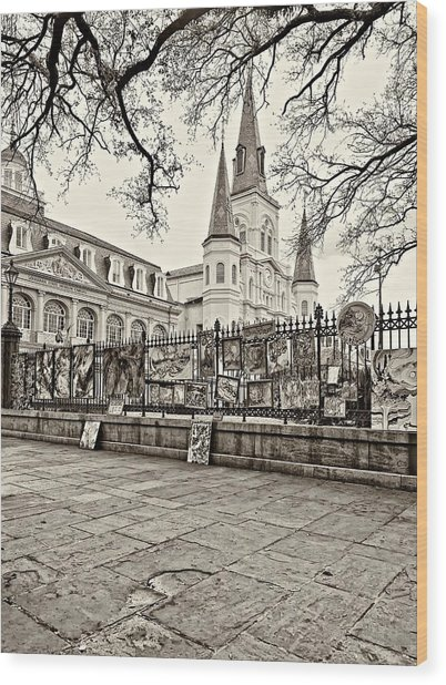 Jackson Square Winter Sepia Wood Print