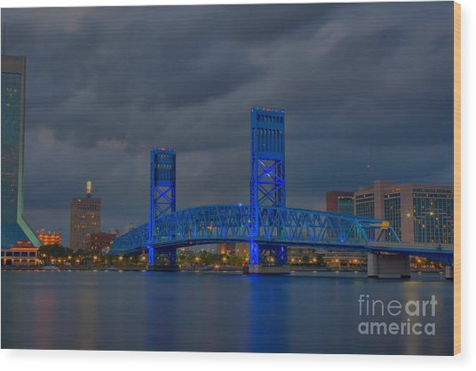 Jacksonville Blue Bridge Hdr Wood Print