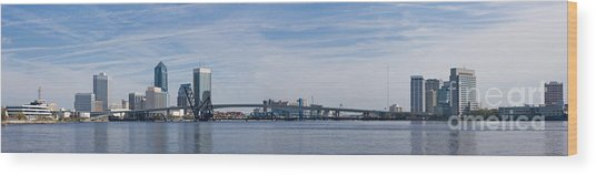 Jacksonville Skyline Panoramic Wood Print