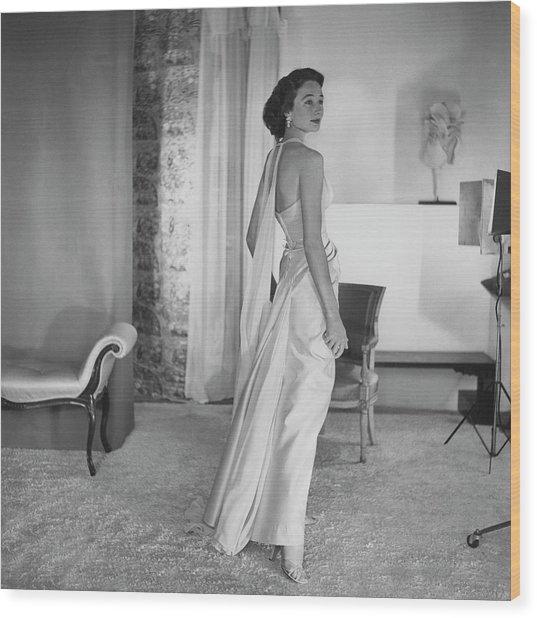 Jacqueline De Ribes Wearing A Desses Dress Wood Print by Horst P. Horst