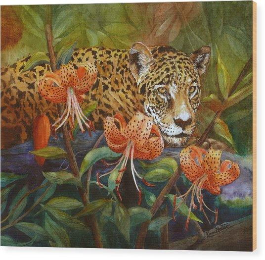Jaguar And Tigers Wood Print