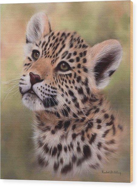 Jaguar Cub Painting Wood Print