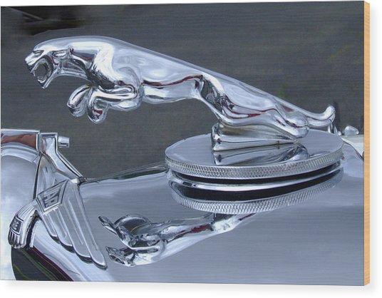 Jaguar Hood Ornament Wood Print by Ron Roberts