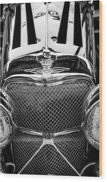 Jaguar Ss 100 Grille Emblem -0544bw Wood Print