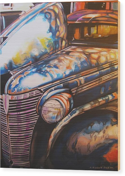 Jalopy Wood Print by Kathleen Bischoff