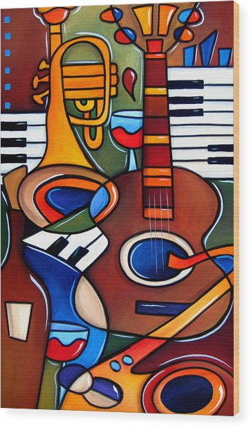 Jam Session By Fidostudio Wood Print