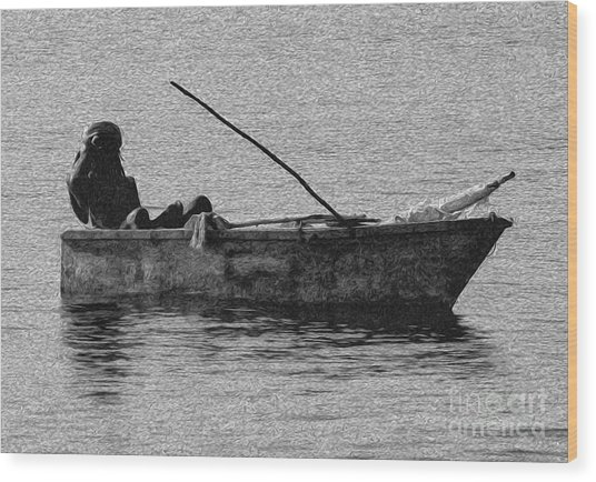 Jamaican Fisherman In Ocho Rios Jamaica Wood Print