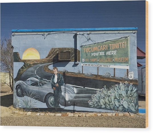 James Dean Mural In Tucumcari On Route 66 Wood Print