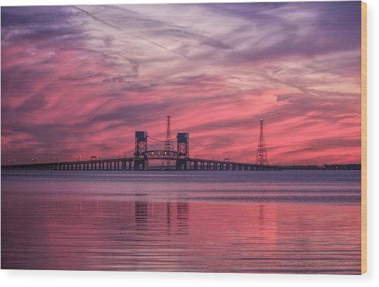 James River Bridge At Sunset Wood Print