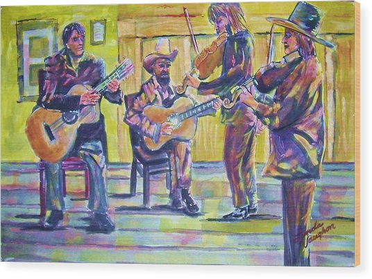 Jammin Wood Print by Linda Vaughon