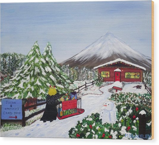 Janet's Winter Walk Wood Print