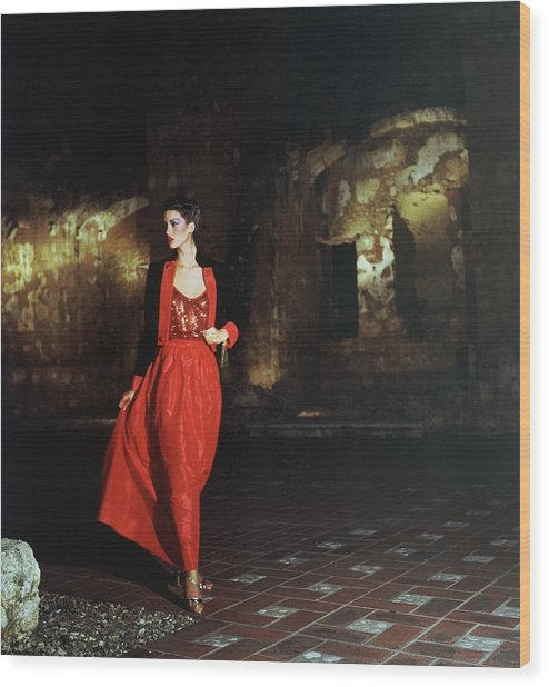 Janice Dickinson Wearing Red Evening Gown Wood Print