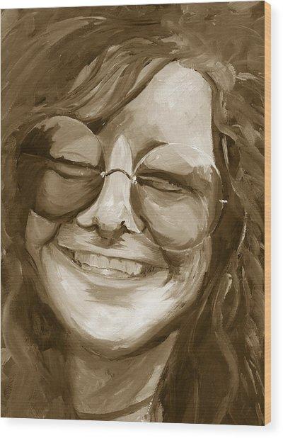 Janis Joplin Gold Wood Print