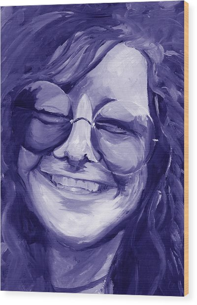 Janis Joplin Purple Wood Print