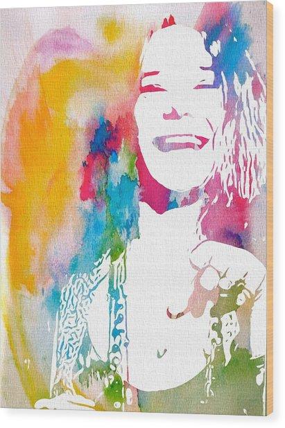 Janis Joplin Watercolor Wood Print