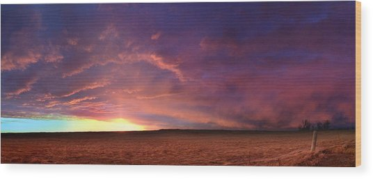 January Sunset With Cold Front Wood Print