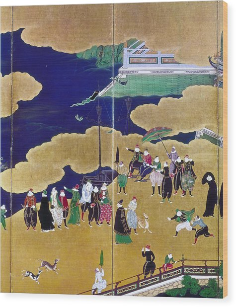 Japan Portuguese Traders Wood Print