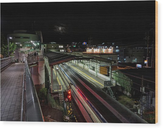 Japan Train Night Wood Print