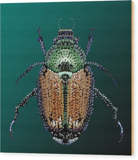 Japanese Beetle Bedazzled II Wood Print