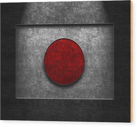 Japanese Flag Stone Texture Wood Print