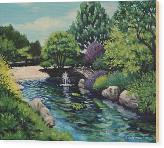 Japanese Garden Fountain View Wood Print