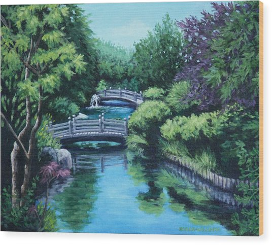Japanese Garden Two Bridges Wood Print