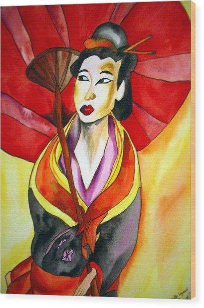 Japanese Geisha Wood Print by Sacha Grossel