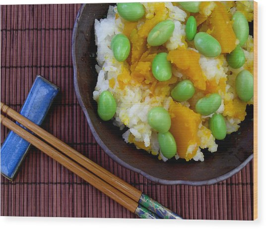 Japanese Kabocha Squash Rice With Edamame Wood Print by James Temple