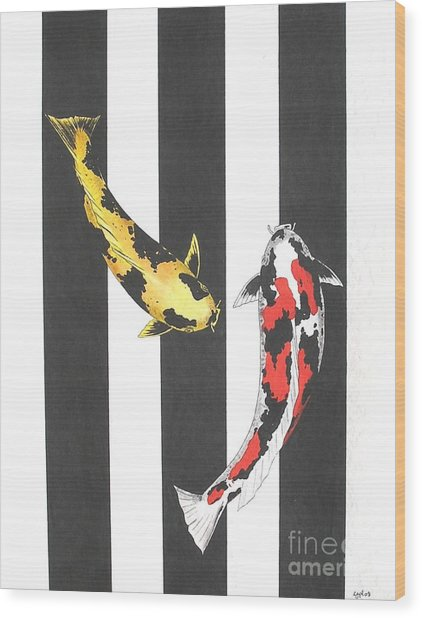 Japanese Koi Doitsu Showa And Showa Sumi Black Lines Wood Print by Gordon Lavender