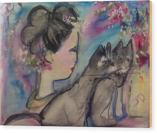 Japanese Lady And Felines Wood Print