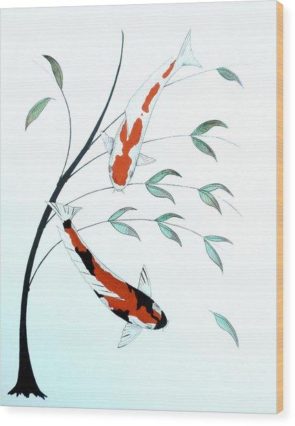 Japanese Painting Of A Koi Kohaku And Showa Sanke