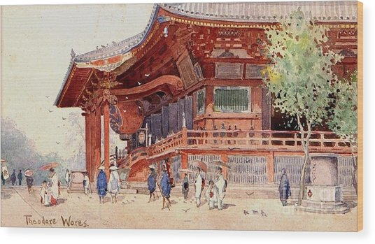 Japanese Pavilion And Courtyard Wood Print by Roberto Prusso