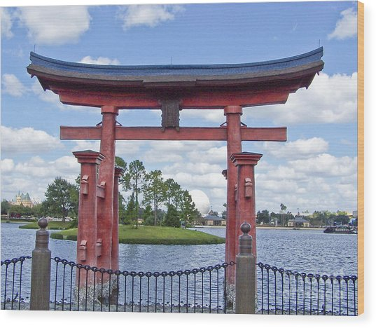 Japanese Torri Gate At Epcot Wood Print