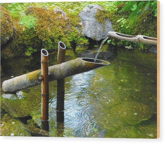Japanese Water Fountain Wood Print by Phyllis Britton
