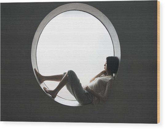 Japanese Woman Leaning On The Window Wood Print by Shuji Kobayashi