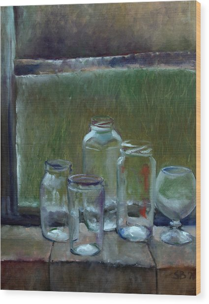Jars On Summer Windowsil Wood Print