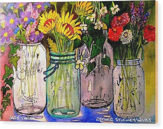 Jars Three Wood Print by Esther Woods