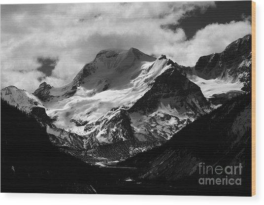 Jasper - Mt. Athabasca Monochrome Wood Print