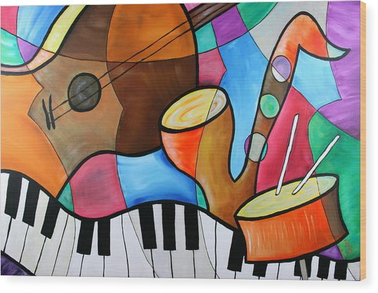 Jazz Band Inspired By Eric Waugh Wood Print