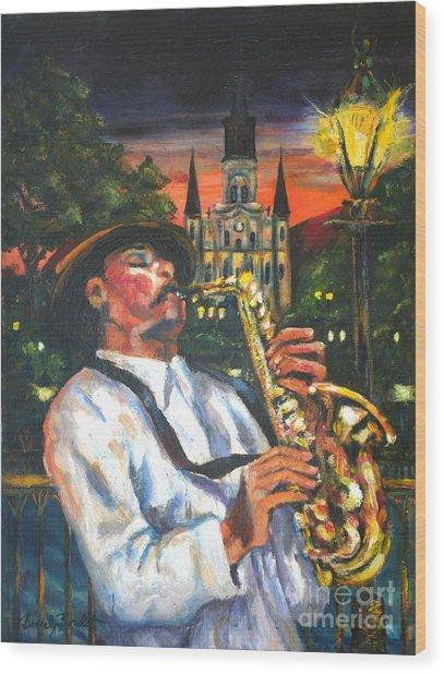 Jazz By Street Lamp Wood Print