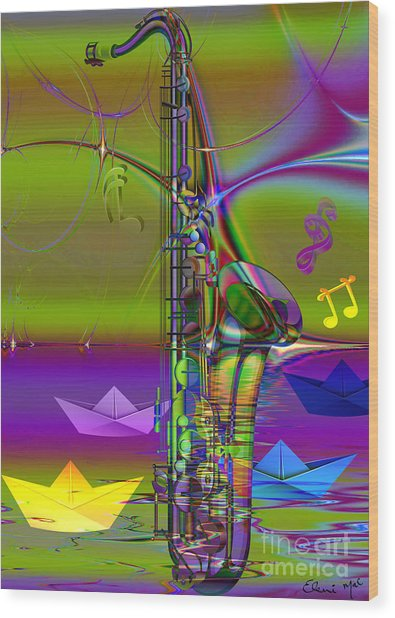 Jazz Chill Wood Print by Eleni Mac Synodinos
