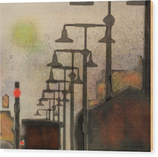 Jazz City Wood Print