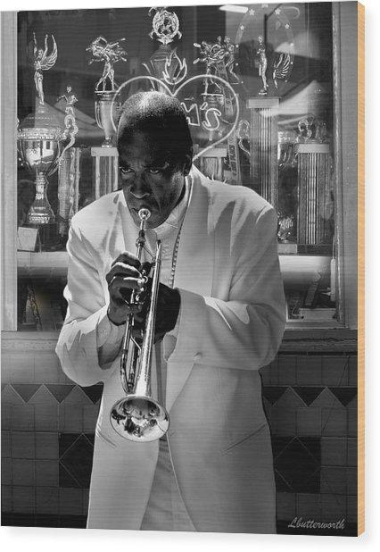 Jazz Man Wood Print by Larry Butterworth