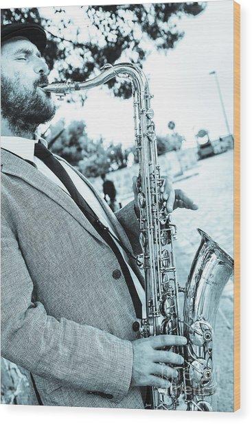 Jazz Musician Busker Playing Saxophone Wood Print