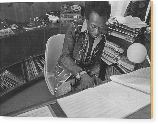 Jazz Musician Miles Davis Composing Wood Print by Mark Patiky